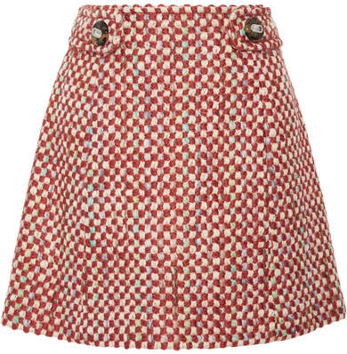 Prada - Wool And Cotton-blend Tweed Mini Skirt - Orange