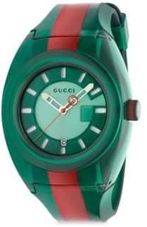 Gucci Transparent Nylon& Striped Rubber Strap Watch/Green
