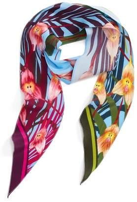 Rockins Skinny Scarves Monkey Orchid Skinny Silk Scarf