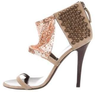 Balmain Suede Embellished Sandals