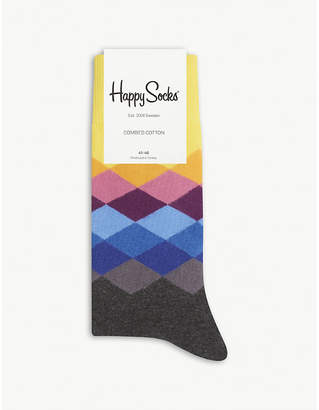 Happy Socks Mens Navy Vibrant Diamond Pattern Cotton