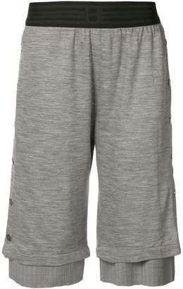 Baja East layered press stud shorts