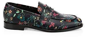 Paul Smith Men's Floral-Print Leather Penny Loafers