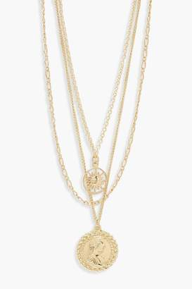 boohoo Chain & Coin Layered Necklace
