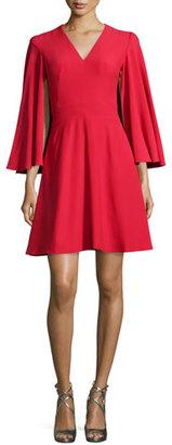 Alexander McQueen Cape-Sleeve V-Neck Mini Dress, Blazer Red $1,895 thestylecure.com