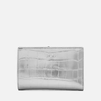 Lauren Ralph Lauren Women's Newbury New Compact Metallic Faux Croc Wallet - Silver