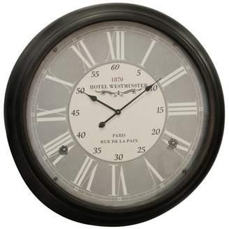 Westminster Generic Antique 1870 Hotel Wall Clock - Black Metal Frame