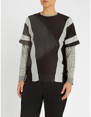 Issey Miyake Contrast-panel jersey T-shirt