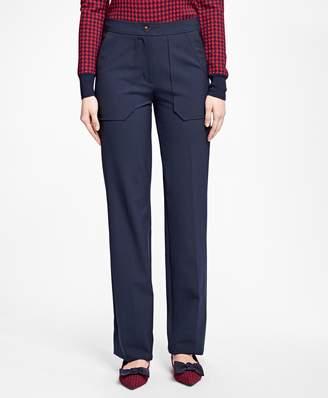 Brooks Brothers Wide-Leg Wool-Blend Pants