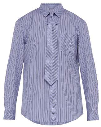 Burberry Chevron Stripe Tie Cotton Shirt - Mens - Blue