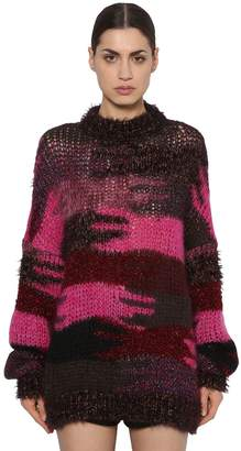 Saint Laurent Camo Mohair Blend Intarsia Knit Sweater