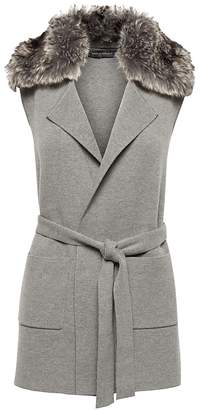 Banana Republic JAPAN ONLINE EXCLUSIVE Washable Merino Wool Blend Vest with Faux Fur Collar