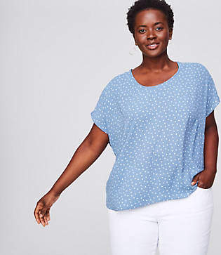 LOFT Plus Dotted Mixed Media Tee