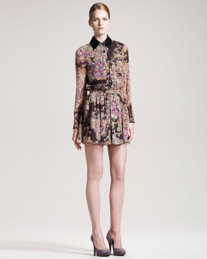 Gryphon New York Floral-Print Shirtdress