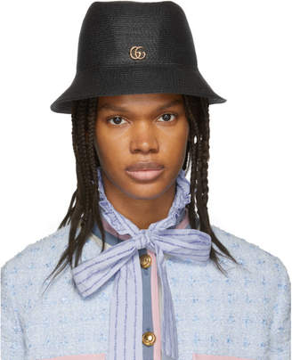 Gucci Black GG Straw Hat