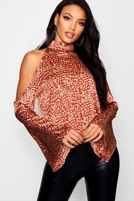 boohoo Cold Shoulder Leopard Print Top