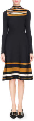 Proenza Schouler Slit-Neck Long-Sleeve Striped Fit-and-Flare Knee-Length Dress