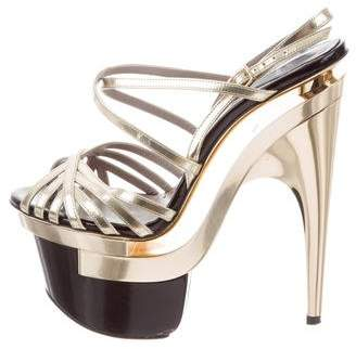 Versace Metallic Platform Sandals