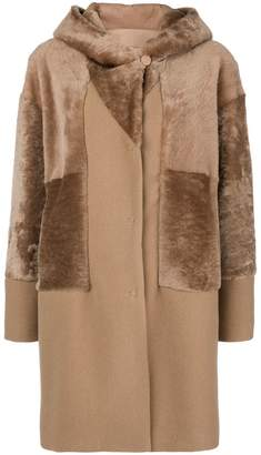 Drome hooded mid fur coat