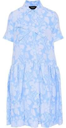 Rochas Bow-Embellished Cotton-Blend Jacquard Dress