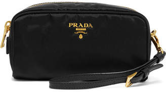 Prada Textured Leather-trimmed Shell Cosmetics Case - Black