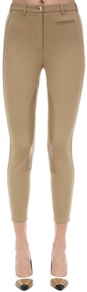 Burberry VISCOSE BLEND PANTS W/ LEATHER DETAILS
