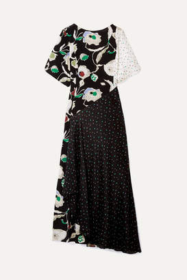 Jason Wu GREY - Crinkled Printed Silk-chiffon And Crepe De Chine Maxi Dress - Black