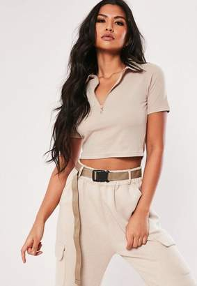 41c11f2114df9 Missguided Sand Zip Up Polo Crop Top