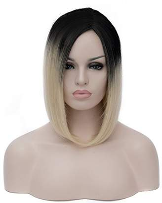 Alacos Short Black Root Ombre Bob Style Wig Hair Silky Synthetic Heat Resisting Fiber Wig Hair Plus Free Wig Cap (Pale Blonde)