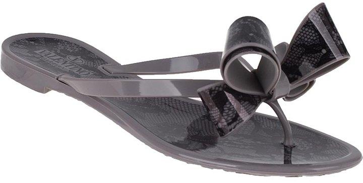 Valentino Lace Bow Flip Flop Graphite Rubber