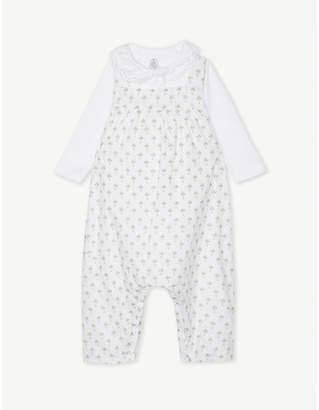 Petit Bateau Two-piece cotton body suit and dungarees set