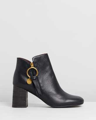 See by Chloe Ring Zip Pull Leather Boots