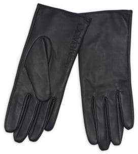 Calvin Klein Debossed Logo Leather & Suede Gloves