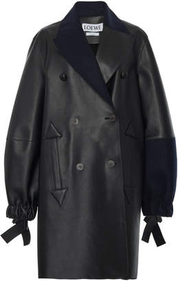 Double Breasted Leather Coat