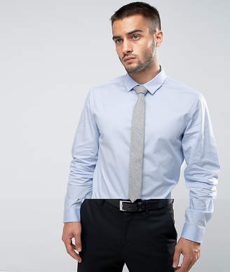 Asos Slim Shirt In Blue With Grey Textured Tie Save