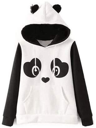 MIOIM Womens Cute Ears Print Hooded Pullover Drawstring Hoodie Sweatshirt