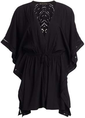 Hermanny Vix By Paula Embroidered Eyelet Drawstring Waist Kimono