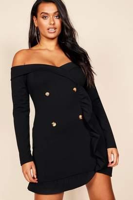 boohoo Plus Bardot Tuxedo Button Mini Dress