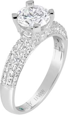 LeVian Suzy Jewelry Bridal Pave CZ Sterling Silver Engagement Ring