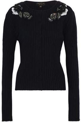 Giambattista Valli Embellished Ribbed Wool Silk And Cashmere-Blend Cardigan