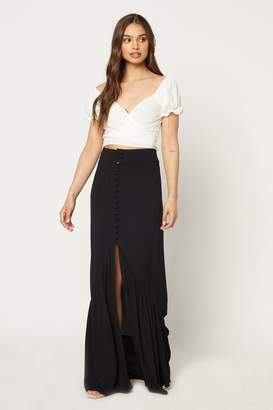 Flynn Skye Unbutton Me Skirt - Black Rayon