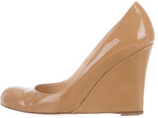 Christian Louboutin Christian Louboutin Patent Leather Round-Toe Wedges