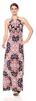 London Times Women's Keyhole Halter Inset Waist Maxi Dress