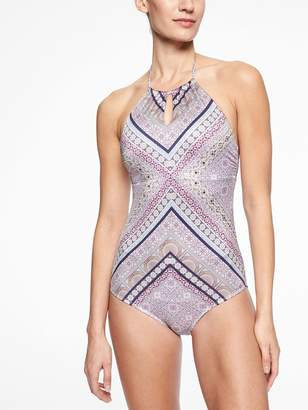 Athleta Aqualuxe Print High Neck Keyhole One Piece
