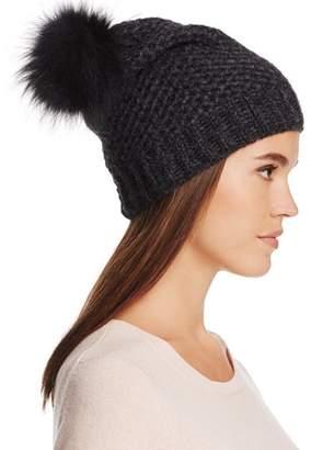 Inverni Fur Pom-Pom Slouchy Beanie - 100% Exclusive