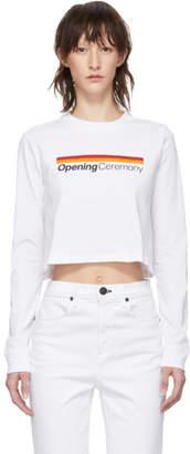 Opening Ceremony White Cropped Stripe Logo Long Sleeve T-Shirt