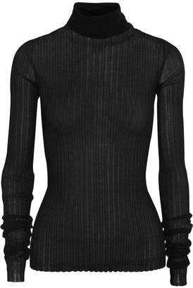 Ribbed Cotton-blend Turtleneck Sweater - Black