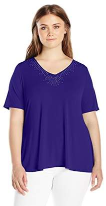 Notations Women's Plus Size Elbow Sleeve V Neck Top with Heat Seal and Criss Cross at Center Back