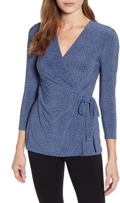 Anne Klein Print Wrap Top