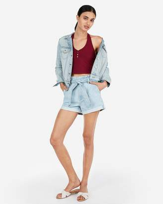 Express One Eleven Button Placket Cropped Top